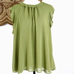 Ann Taylor Factory olive green ruffle babydoll top